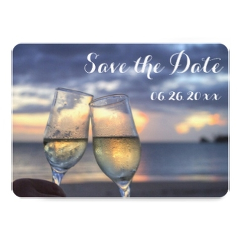 Personalized Sunset Beach Round Save The Date 5x7 Paper Invitation Card