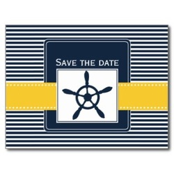 save the date postcard rudder navy stripes