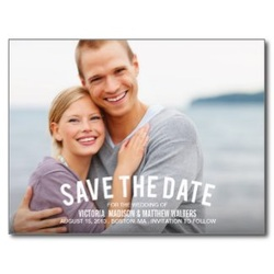save the date postcard happy couple