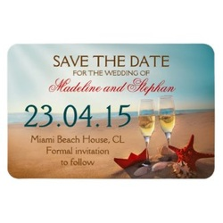 save the date magnet sunset beach