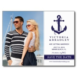 save the date postcard with nautical theme